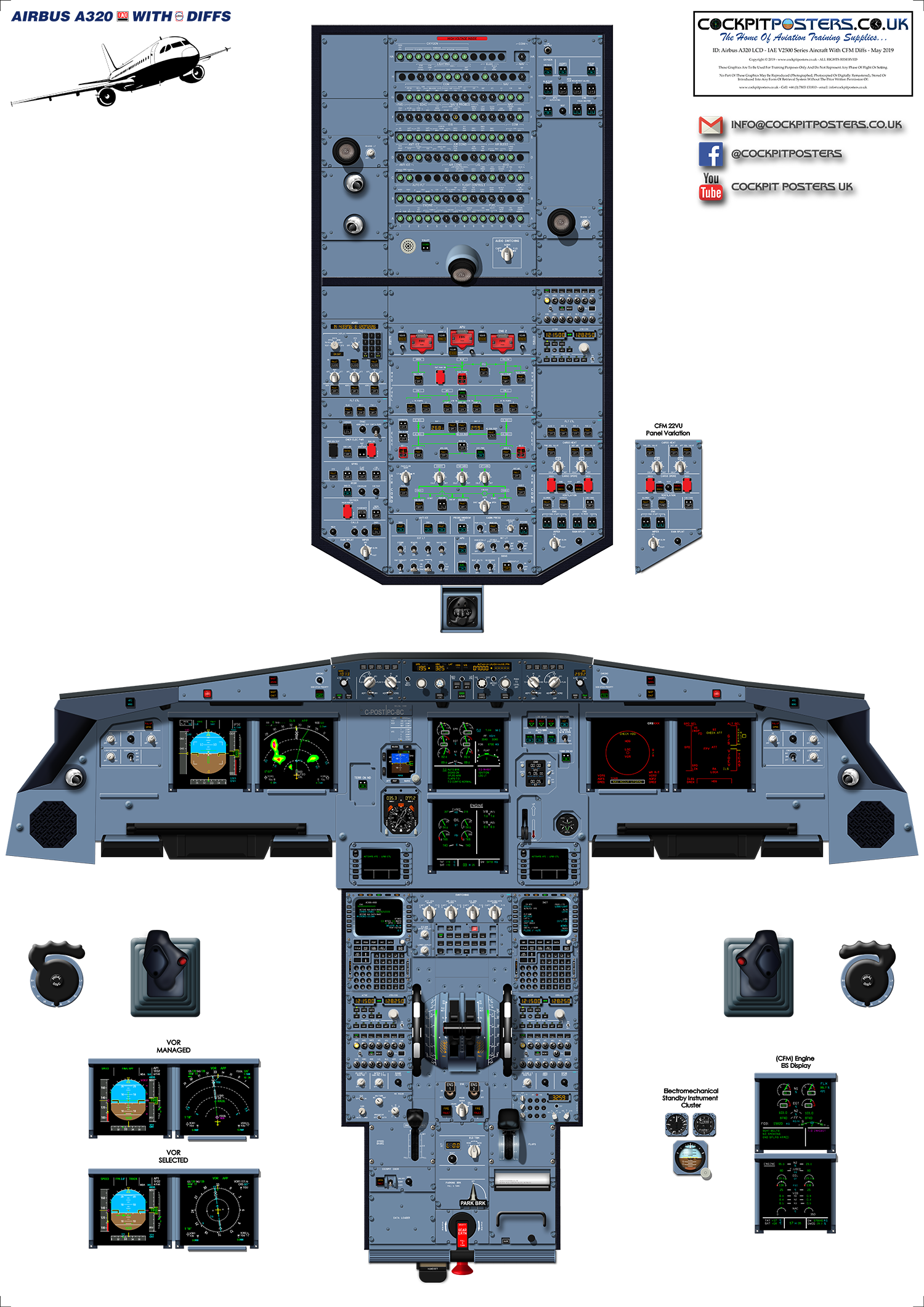 #02 - Airbus A320 LCD - IAE V2500 EIS With CFM Diffs Cockpit Poster