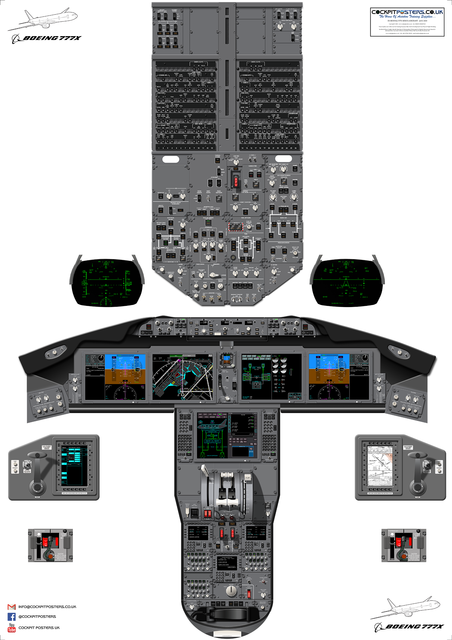Boeing 737-800 NG Cockpit Poster 35/%-100/% Scale from £29.85